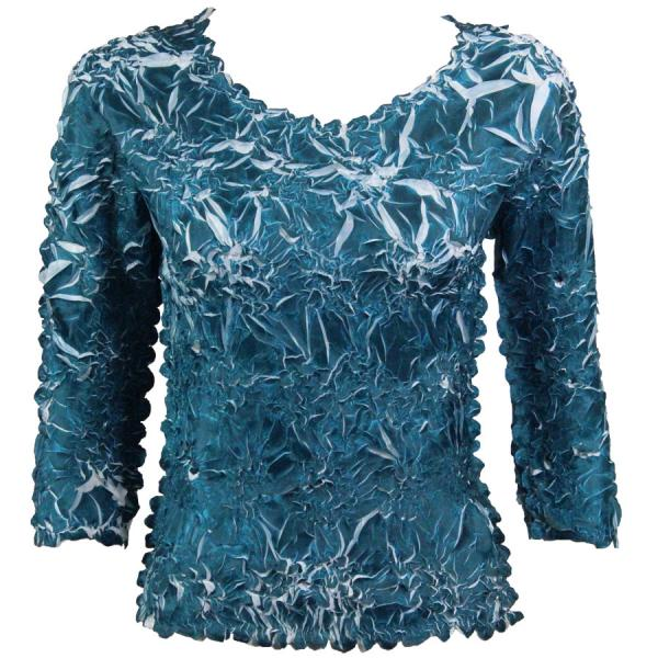 Wholesale Origami - Three Quarter Sleeve Deep Teal - White - One Size (S-XL)