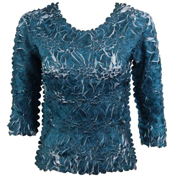 Wholesale Origami - Three Quarter Sleeve Deep Teal - Platinum - Queen Size Fits (XL-3X)