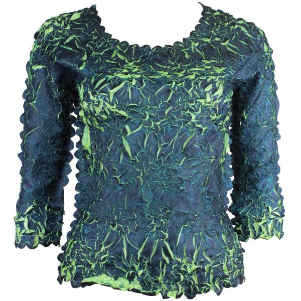 Wholesale Origami - Three Quarter Sleeve Navy - Spring Green - Queen Size Fits (XL-3X)