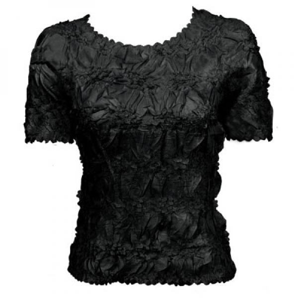 Wholesale Origami - Short Sleeve Solid Black - Queen Size Fits (XL-3X)