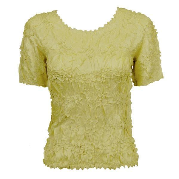 Wholesale Origami - Short Sleeve Solid Lemon - Queen Size Fits (XL-3X)