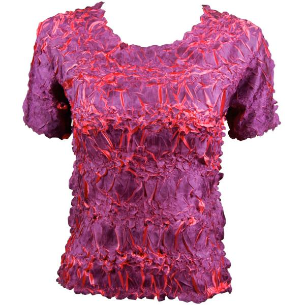 Wholesale Origami - Short Sleeve Purple - Coral - Queen Size Fits (XL-3X)