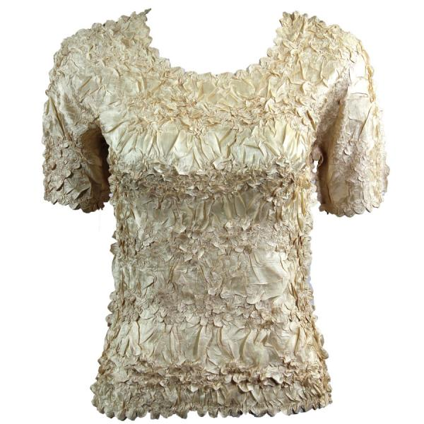 Wholesale Origami - Short Sleeve Solid Light Gold - Queen Size Fits (XL-3X)
