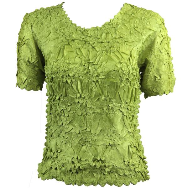 Wholesale Origami - Short Sleeve Solid Green mb - Queen Size Fits (XL-3X)