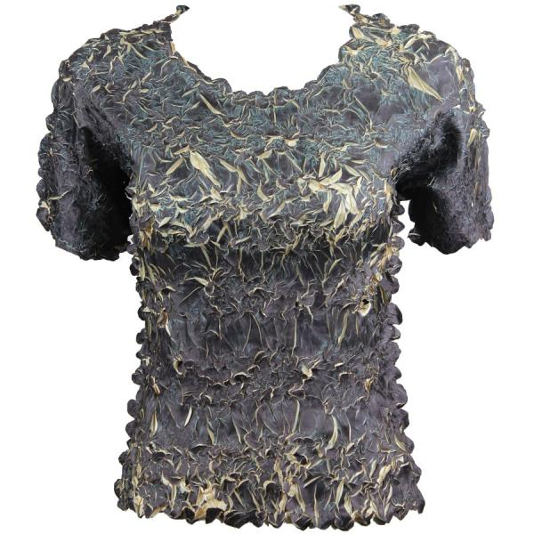 Wholesale Origami - Short Sleeve Black - Light Gold - Queen Size Fits (XL-3X)