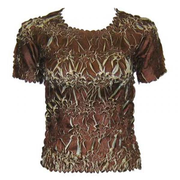 Wholesale Origami - Short Sleeve Brown - Beige - One Size (S-XL)