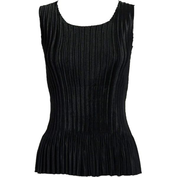 wholesale Satin Mini Pleats - Sleeveless Solid Black Satin Mini Pleat - Sleeveless - One Size (S-XL)