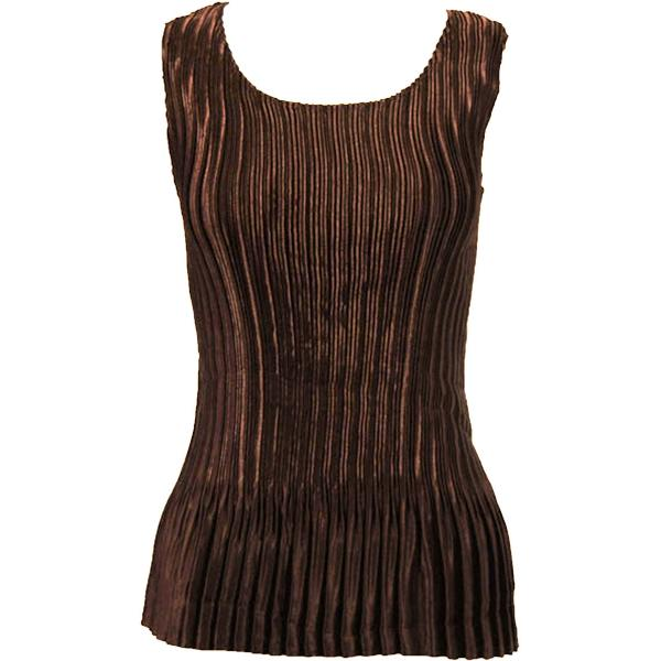 Wholesale Satin Mini Pleats - Half Sleeve V-Neck Solid Dark Brown Satin Mini Pleat - Sleeveless - One Size (S-XL)