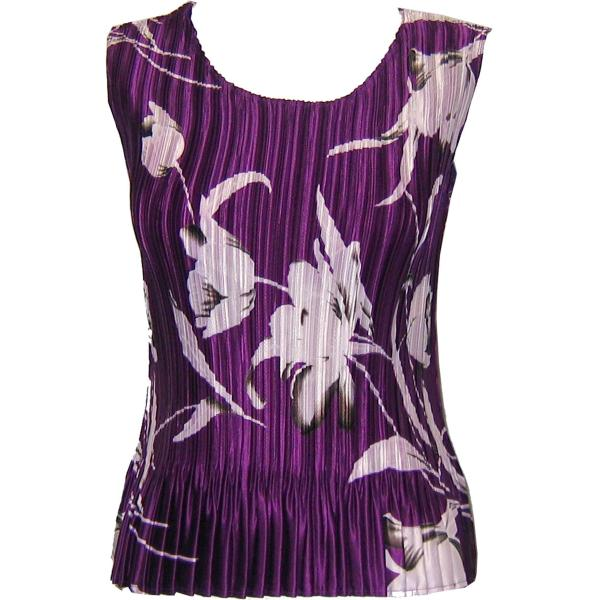 wholesale Satin Mini Pleats - Sleeveless White Tulips on Purple Satin Mini Pleat - Sleeveless - One Size (S-XL)