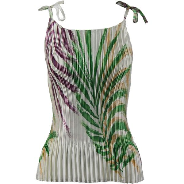 wholesale Satin Mini Pleats - Spaghetti Tank Palm Leaf Green-Purple Satin Mini Pleat - Spaghetti Tank - One Size (S-L)