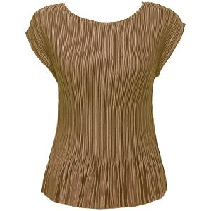 Wholesale  Solid Taupe Satin Mini Pleat - Cap Sleeve - One Size (S-L)