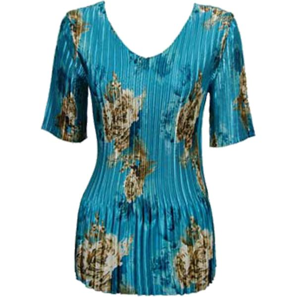 Wholesale Satin Mini Pleats - Half Sleeve V-Neck Taupe on Teal - One Size (S-XL)