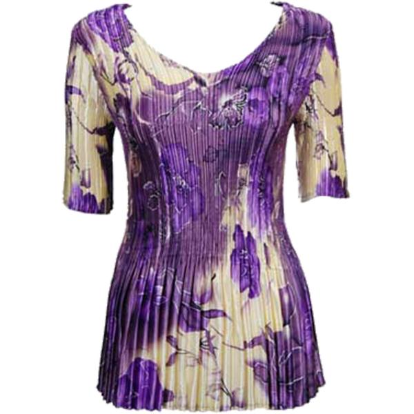 Wholesale Satin Mini Pleats - Half Sleeve V-Neck Rose Floral - Purple  - One Size (S-XL)