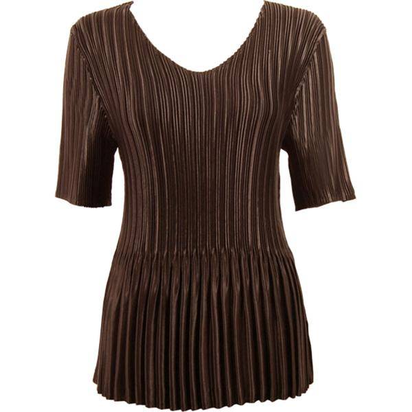 Wholesale Satin Mini Pleats - Half Sleeve V-Neck Solid Dark Brown - One Size (S-XL)
