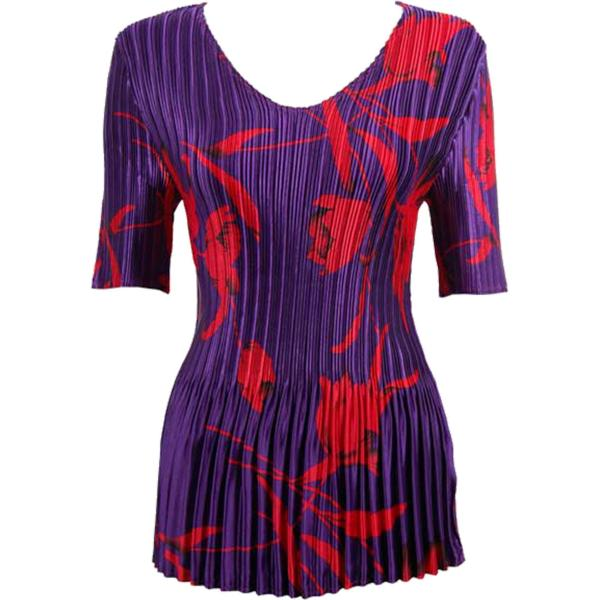 Wholesale Satin Mini Pleats - Half Sleeve V-Neck Red Tulips on Purple - One Size (S-XL)