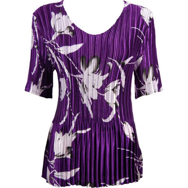 Wholesale Satin Mini Pleats - Half Sleeve V-Neck White Tulips on Purple - One Size (S-XL)