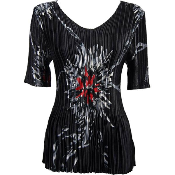 Wholesale Satin Mini Pleats - Half Sleeve V-Neck Oriental Floral Black-Red - One Size (S-XL)