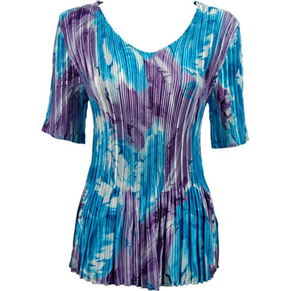 Wholesale Satin Mini Pleats - Half Sleeve V-Neck Turquoise-Purple Watercolors - One Size (S-XL)