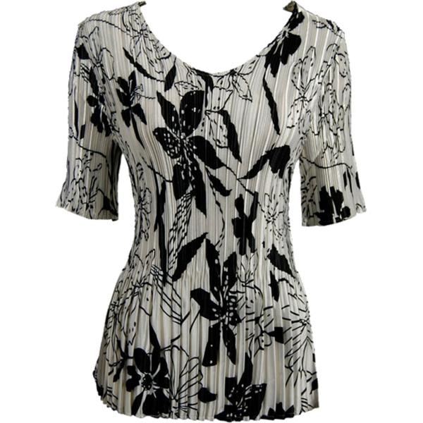 Wholesale Satin Mini Pleats - Half Sleeve V-Neck Floral - Black on White - One Size (S-XL)