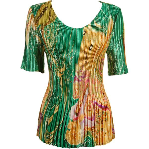 Wholesale Satin Mini Pleats - Half Sleeve V-Neck Swirl Green-Gold - One Size (S-XL)