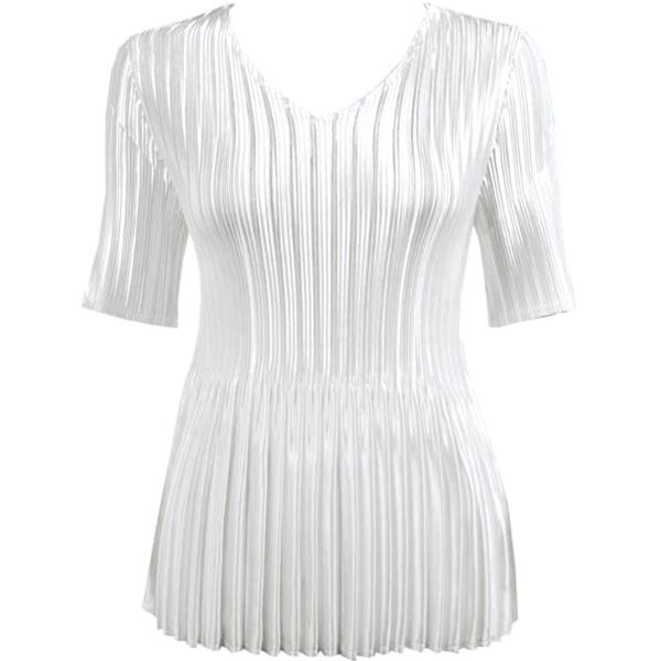 Wholesale Satin Mini Pleats - Half Sleeve V-Neck Solid White  - One Size (S-XL)