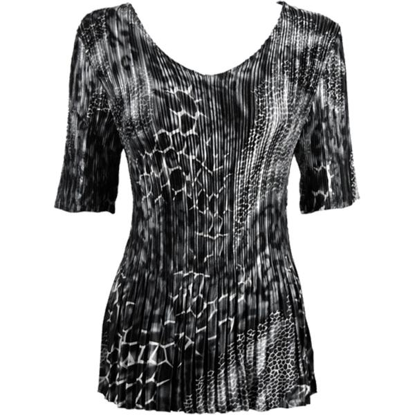 Wholesale Satin Mini Pleats - Half Sleeve V-Neck Reptile Black-Grey - One Size (S-XL)