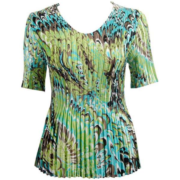 Wholesale Satin Mini Pleats - Half Sleeve V-Neck Lime-Aqua Peacock - One Size (S-XL)