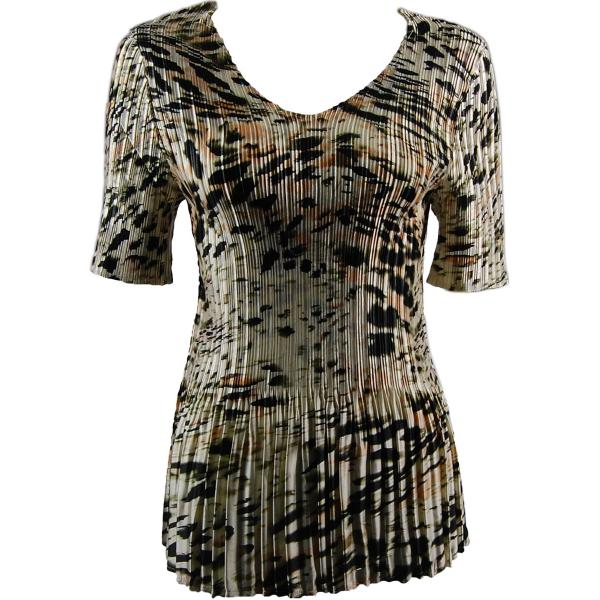Wholesale Satin Mini Pleats - Half Sleeve V-Neck Olive Leopard - One Size (S-XL)