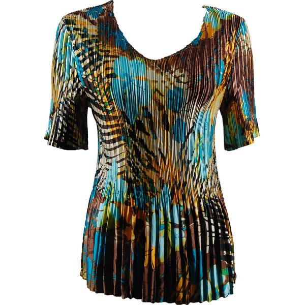 Wholesale Satin Mini Pleats - Half Sleeve V-Neck Jungle Floral - Turquoise - One Size (S-XL)