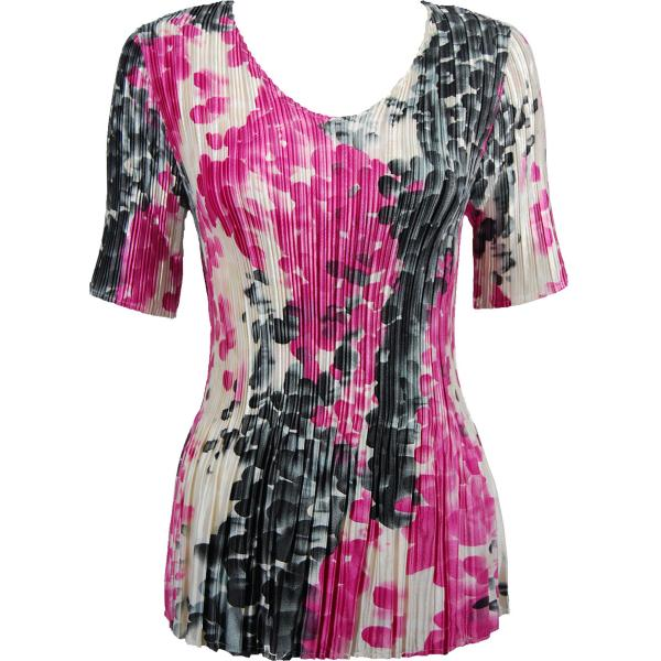 Wholesale Satin Mini Pleats - Half Sleeve V-Neck Pink-Grey Dots - One Size (S-XL)