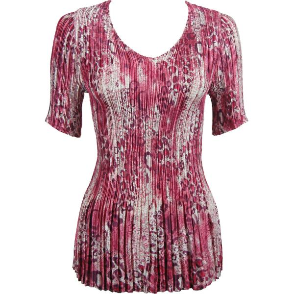 Wholesale Satin Mini Pleats - Half Sleeve V-Neck Leopard Print Wine - One Size (S-XL)