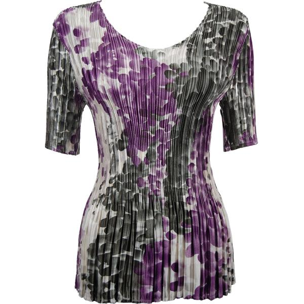 Wholesale Satin Mini Pleats - Half Sleeve V-Neck Mauve-Charcoal Dots - One Size (S-XL)