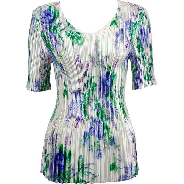 Wholesale Satin Mini Pleats - Half Sleeve V-Neck Small Purple Floral on White - One Size (S-XL)