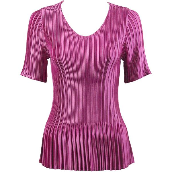 Wholesale Satin Mini Pleats - Half Sleeve V-Neck Solid Orchid - One Size (S-XL)