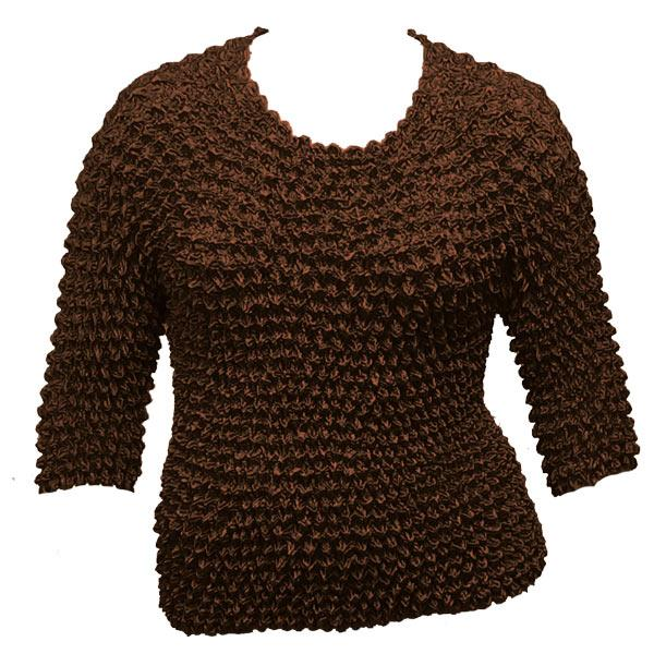 wholesale Queen - Gourmet Popcorn - Three Quarter Sleeve Brown - Queen Size Fits (XL-3X)