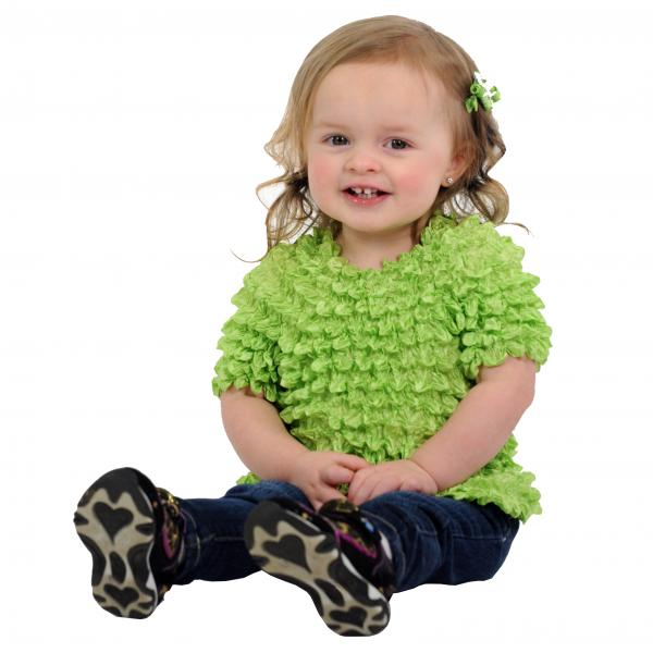 Wholesale Silky Touch Popcorn - Kids Size  Short Sleeve Lime Silky Touch Popcorn Top - Kids Size - Toddler - Tween