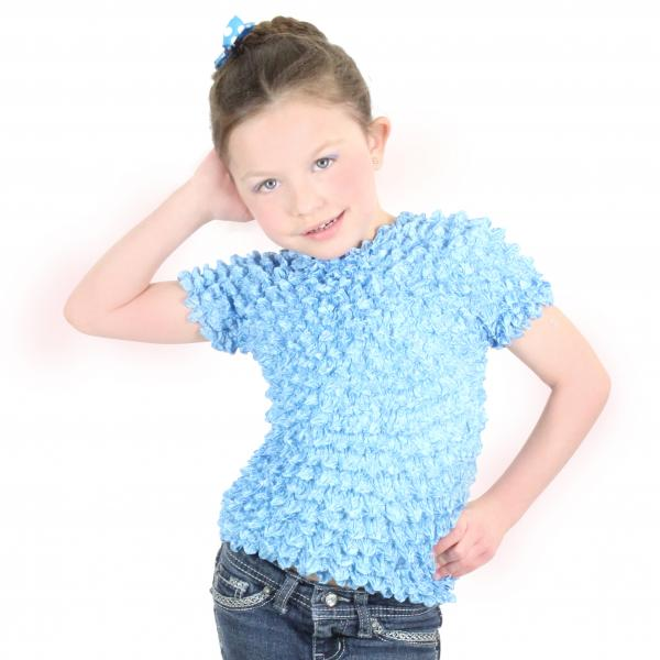 wholesale Silky Touch Popcorn - Kids Size  Short Sleeve Baby Blue Silky Touch Popcorn Top - Kids Size - Toddler - Tween