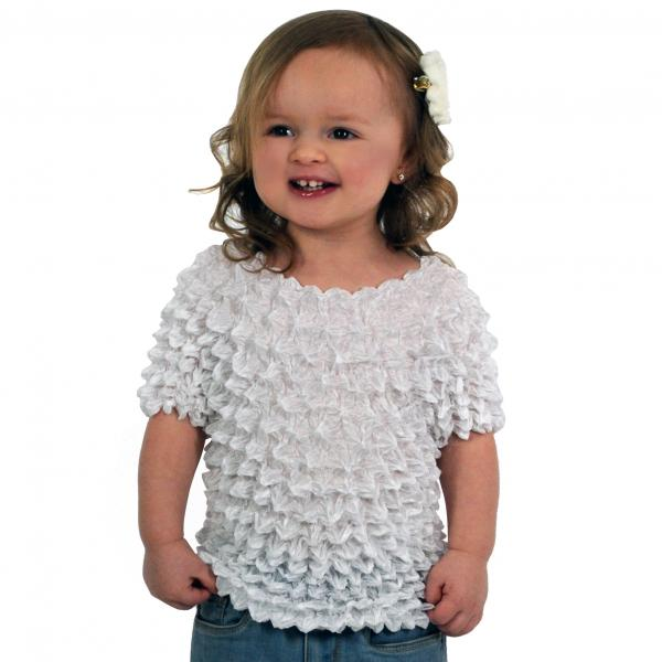 Wholesale Silky Touch Popcorn - Kids Size  Short Sleeve White Silky Touch Popcorn Top - Kids Size - Toddler - Tween