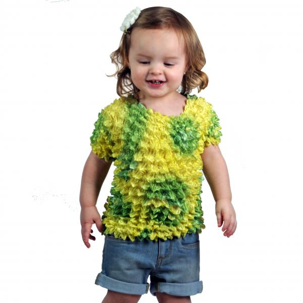 wholesale Silky Touch Popcorn - Kids Size  Short Sleeve Lemon-Lime Butterflies Silky Touch Popcorn Top - Kids Size - Toddler - Tween