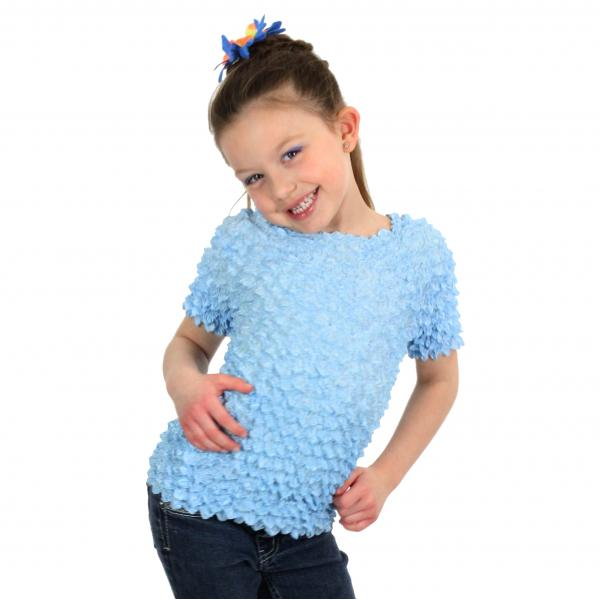 wholesale Silky Touch Popcorn - Kids Size  Short Sleeve Light Blue - Toddler - Tween
