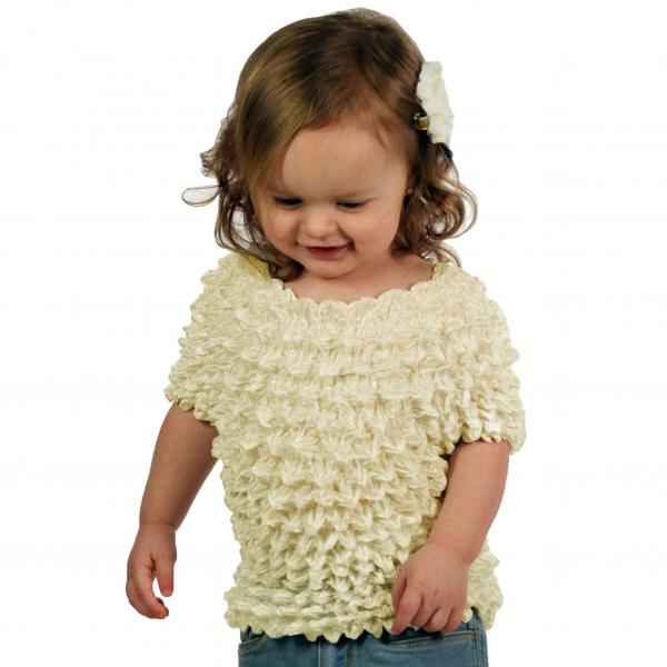 Wholesale Silky Touch Popcorn - Kids Size  Short Sleeve Ivory Silky Touch Popcorn Top - Kids Size - Toddler - Tween