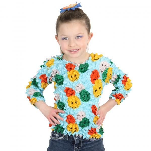 Wholesale Silky Touch Popcorn - Kids Size  Long Sleeve Smiley Faces on Sky Blue Silky Touch Popcorn Top - Kids Size - Toddler - Tween
