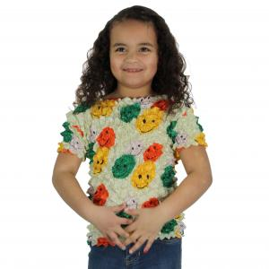 Wholesale Silky Touch Popcorn - Kids Size  Short Sleeve Smiley Faces on Celery - Toddler - Tween