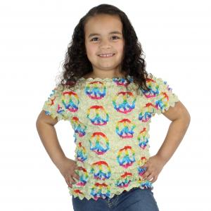 Wholesale Silky Touch Popcorn - Kids Size  Short Sleeve Peace Signs on Celery - Toddler - Tween