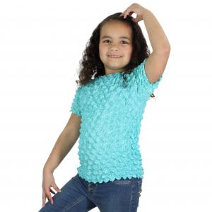 Wholesale Silky Touch Popcorn - Kids Size  Short Sleeve Light Turquoise - Toddler - Tween