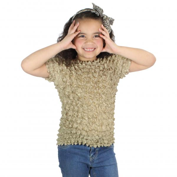 Wholesale Silky Touch Popcorn - Kids Size  Short Sleeve Champagne Silky Touch Popcorn Top - Kids Size - Toddler - Tween