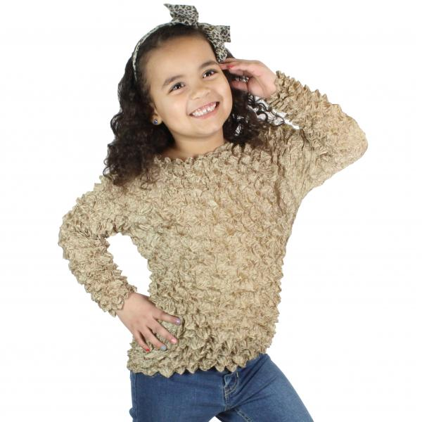 wholesale Silky Touch Popcorn - Kids Size  Long Sleeve Champagne Silky Touch Popcorn Top - Kids Size - Toddler - Tween