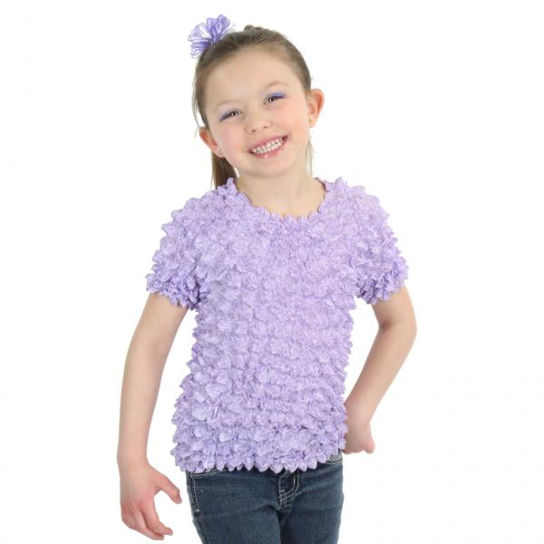 Wholesale Silky Touch Popcorn - Kids Size  Short Sleeve Lilac Silky Touch Popcorn Top - Kids Size - Toddler - Tween