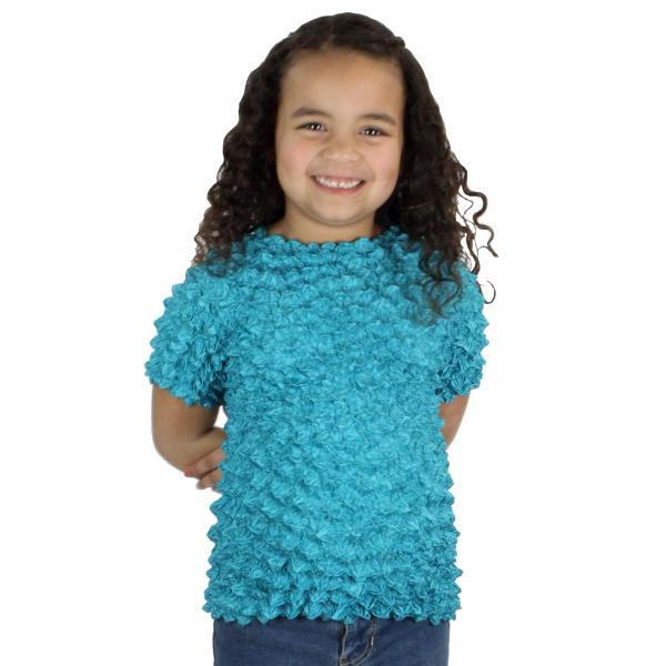 Wholesale Silky Touch Popcorn - Kids Size  Short Sleeve Teal Silky Touch Popcorn Top - Kids Size - Toddler - Tween