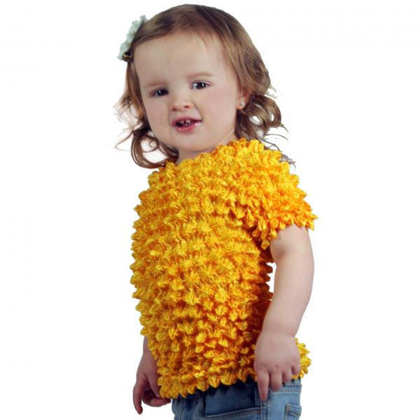 Wholesale Silky Touch Popcorn - Kids Size  Short Sleeve Yellow Silky Touch Popcorn Top - Kids Size - Toddler - Tween